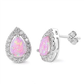 Sterling Silver CZ Simulated Diamond and Simulated Pink Opal 13MM Teardrop Halo Earrings