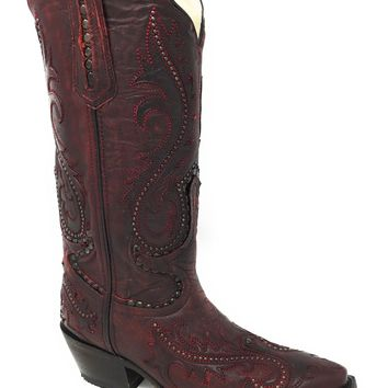 Corral Women's Red Overlay and Studs Snip Toe Boots G1401