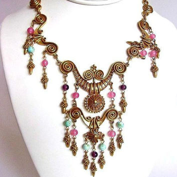 Etruscan Revival Goldette Necklace, Art Glass Dangles, Gold Scroll Work, Vintage