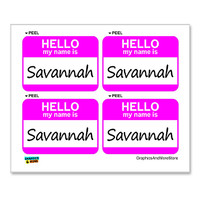Savannah Hello My Name Is - Sheet of 4 Stickers