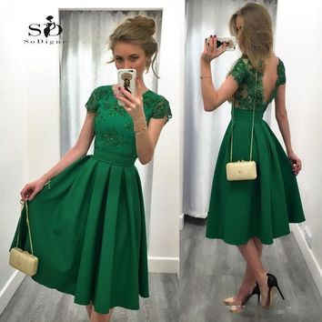 Green Short Prom Dress 2017 Cheap SoDigne A Line Turquoise Tea Length V-neckless Lace Applique Dress Prom Gown