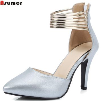 ASUMER fashion spring autumn new women pumps pointed toe ladies shoes zipper elegant super high heels shoes big size 33-44