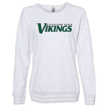 Official NCAA Cleveland State Vikings PPCVU05 Women's Crewneck Sweatshirt with White Striped Edges