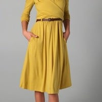Tibi Wrap Wool Jersey Dress with Belt