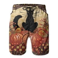 Moonlight Cat - Decorative Black Pumpkin Halloween Fall Spooky Mens Fashion Casual Beach Shorts