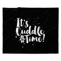 "Nick Atkinson ""Cuddle Time"" Black White Fleece Throw Blanket"