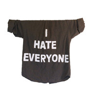 I HATE EVERYONE - Punk, Emo, Angsty Flannel Unisex Shirt, Ariel Font Version (Colors may vary, All Sizes Available!)
