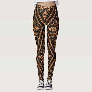 Black Peach Diamond Floral Paisley Pants Leggings