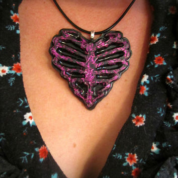 Ribcage Skeleton Heart Purple Glitter and Black Neck Candy
