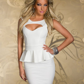 White Sleeveless Cut-Out Peplum Bodycon Mini Dress