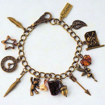 Peter Pan And Wendy and Lost Boys Charm Bracelet II in Antiqued Bronze
