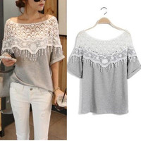 Womens Girls Hollow Crochet Lace Short Sleeve Casual Tops Blouse T Shirt Sexy(new size added) = 1645850244
