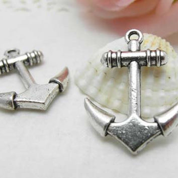 10pcs Antique Silver Anchor Charms Pendant - Anchor Charms Connector 20x25mm