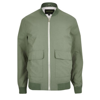 Army Green and Light Cream Bomber Jacket by River Island
