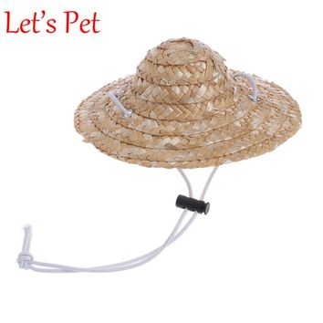 Hawaiian Style Pet Sombrero Hat Dog Cat Hat Small Pet Dog Outdoor Accessories Hiking Pet Products Small/Large Dogs hats