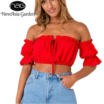 NewAsia Garden Off Shoulder Ruffles Women T-Shirt Sexy Tunic Cropped Top Shirts Casual Summer Tank Top Blusas Feminino Camisole