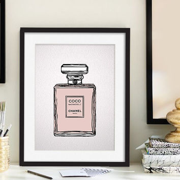 Fashion poster Original art Coco decor French perfume illustration drawing Giclee print Teen girls room Gift for her Chanel perfume bottle