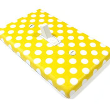 White and Yellow Polka Dots Light Switch Cover, Yellow Nursery Decor, Polka Dots Bedroom Decoration