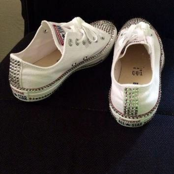 DCCK1IN swarovski rhinestone converse chucks great gift or item for yourself high tops low t