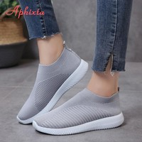 Aphixta 2019 Spring Light Shoes Woman Couple Shoes Air Mesh Upper Women Shoes Female Flats Heel Shoes For Woman Loafers Big Size