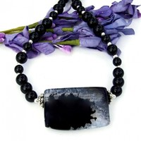 Supernova Agate Necklace, Black Jasper Handmade Gemstone Jewelry Women