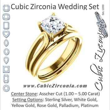 CZ Wedding Set, featuring The Piper engagement ring (Customizable Asscher Cut Solitaire with Flared Split-band)