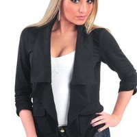 Cascading Ruffle Open Front Blazer - Diva Hot Couture