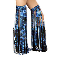 Lighting Fringe Rave Leggings Blue