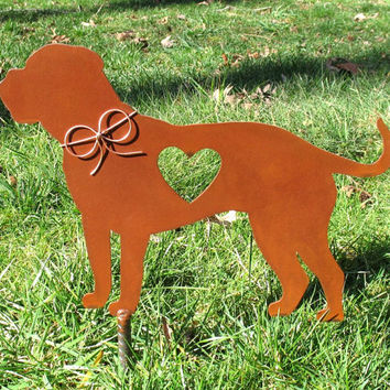 English Mastiff Dog Metal Garden Stake - Metal Yard Art - Metal Garden Art - Pet Memorial 2