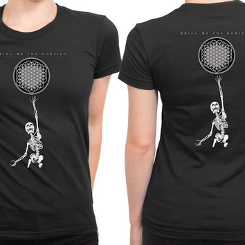 Bmth Bring Me To The Horizon Skeleton 2 Sided Womens T Shirt