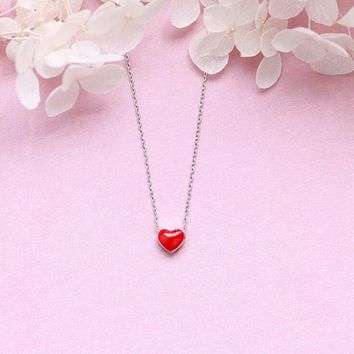 Exquisite New Fashion Korean Style Handmade 925 Sterling Silver Jewelry Cute Red Glaze Love Heart Pendant Necklaces H322
