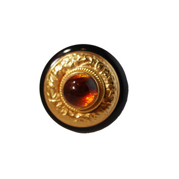 1980s Brooch, Amber Cabochon in Wood & Hammered Metal