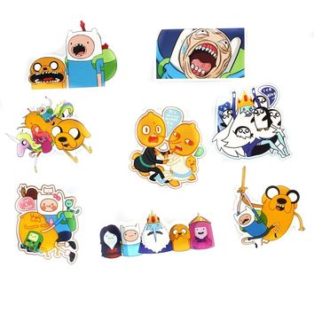 8pcs Adventure Time with Finn and Jake Cartoon Pvc Waterproof Sticker For Luggage Wall Car Laptop Bicycle Motorcycle Stickers