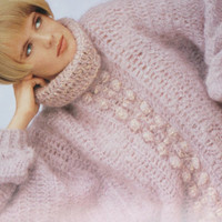 Mohair batwing sweater vintage pattern PDF Instant Download crochet womans sweater slouchy seater supplies pink epsteam knitting pattern