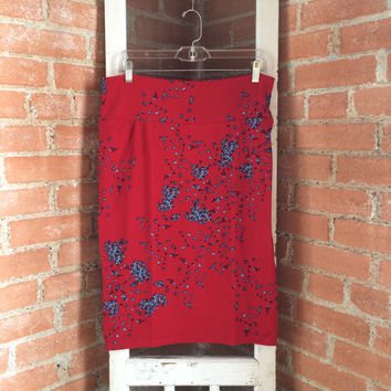 LuLaRoe Cassie Skirt, Red w/Blue Tone Floral