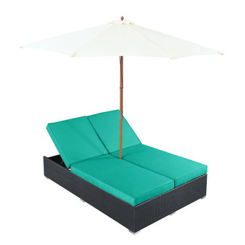 Arrival Outdoor Patio Chaise in Espresso Turquoise