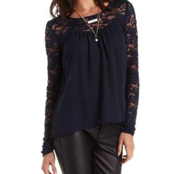 Navy Long Sleeve Lace & Chiffon Top by Charlotte Russe