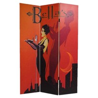 Red and Black Retro Contemporary Art Deco 3-Panel Room Divider