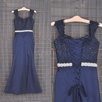 Navy Blue Lace Applique Long Bridesmaid Dresses, Prom Dress, Party Dresses,Evening Dresses,Wedding Party Dresses, Bridesmaid Dresses