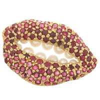 Salvador Dali Iconic Gold and Gem set Lips Brooch