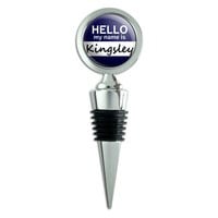 Kingsley Hello My Name Is Wine Bottle Stopper
