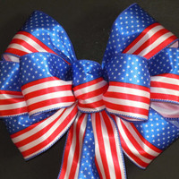Red White Blue Patriotic Bows American Flag Bow Fourth 4th of July Bow Wreath Bow Independence Day Bow Patriotic Decoration Bow