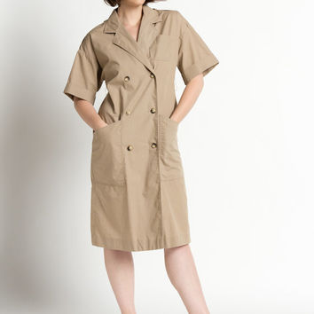 Vintage 80s Khaki Double Breasted Short Sleeve Midi Dress | M/L