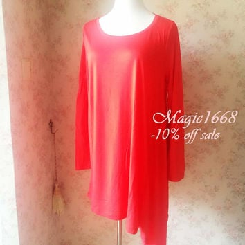 Asymmetrical tunics. Red Tunics. Irregular Long Tunics. Long Sleeve Tunics. Loose tunic tops. Long Blouse. Women Tunic Blouse  by magic1668