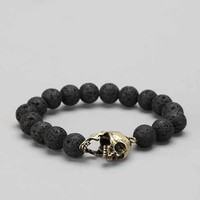 Lava Bead Skull Bracelet- Black One