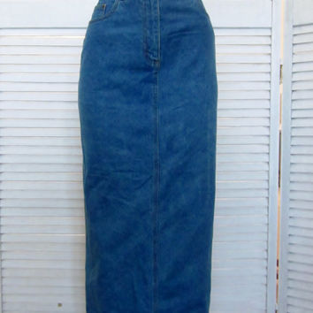 Vintage Long Denim Skirt Womens 10 Denim Maxi Skirt Rafaella Sexy Pencil Skirt Jean Skirt Hipster Grunge Clothing
