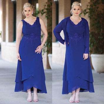 Hot Sale New Style 2016 Chiffon Thank  Royal Blue Mother of the Bride Dresses With Jacket Evening Prom Gown Plus Size