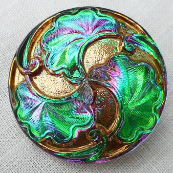 One 28mm iridescent Czech glass button, Vitral Green button with art nouveau stylized leaves , decorative shank buttons 07201