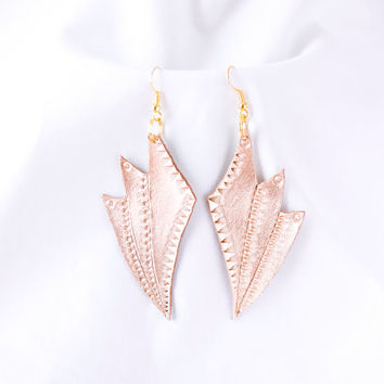 Handmade metallic gold leather earrings, geometric earrings, wing earrings, accessory, jewelry