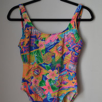 Neon Miami Pattern One Piece Bathing Suit 1990s